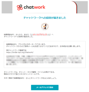 チャットワーク招待メール